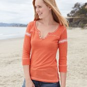 W1454 Women's Hailey Henley Three-Quarter Sleeve Shirt