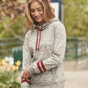 8674 Women's Melange Fleece Striped Sleeve Hooded Pullover