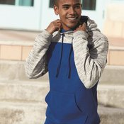 8676 Adult Melange Fleece Colorblocked Hooded Pullover